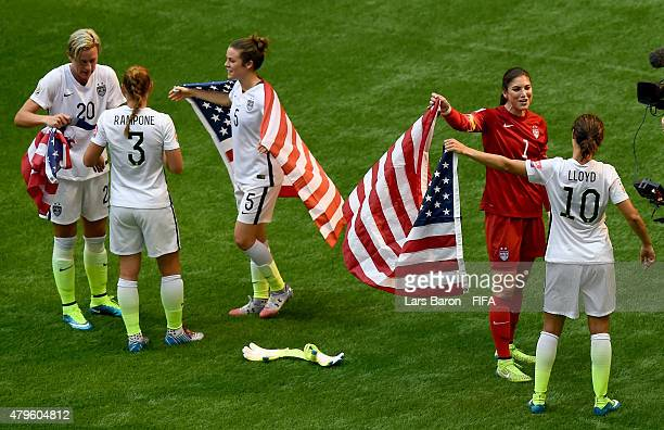 Abby Wambach of USA Christie Rampone of USA Kelly O Hara of USA Hope Solo of USA and Carli Lloyd of USA celebrate after winning the FIFA Women's...