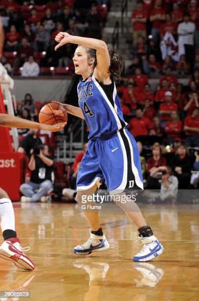 Abby Waner of the Duke Blue Devils handles the ball against the Maryland Terrapins at the Comcast Center on January 14 2008 in College Park Maryland