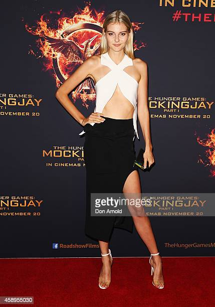 Abby Weir arrives at The Hunger Games Mockingjay Part 1 Sydney Premiere at Event Cinemas George Street on November 14 2014 in Sydney Australia