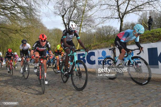 Abby-Mae Parkinson of United Kingdom and Team Lotto Soudal Ladies, Teniel Campbell of Trinidad And Tobago and Team BikeExchange & Maria Martins of...
