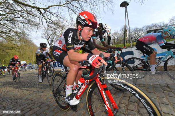 Abby-Mae Parkinson of United Kingdom and Team Lotto Soudal Ladies & Teniel Campbell of Trinidad And Tobago and Team BikeExchange during the 10th...