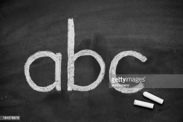 abc handwriting on blackboard