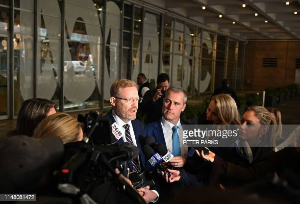 ABCs editorial director Craig McMurtrie speaks to the media as Australian police raided the headquarters of public broadcaster in Sydney on June 5...