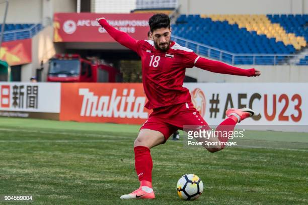 Abd Al Rahman Barakat of Syria in action during the AFC U23 Championship China 2018 Group D match between Australia and Syria at Kunshan Sports...
