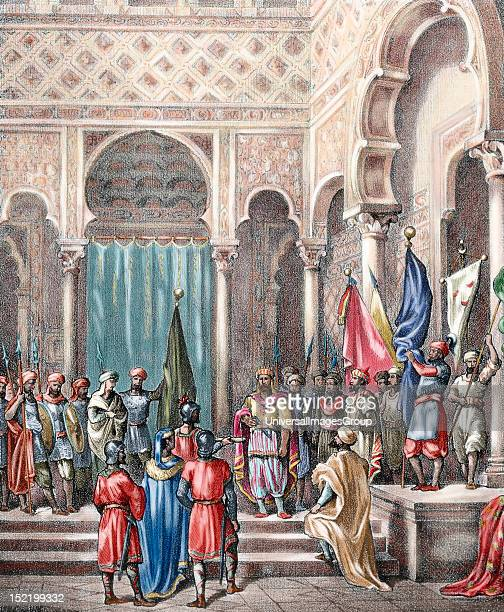 Abd ar-Rahman II ,, Umayyad Emir of Cordoba in the Al-Andalus from 822 until his death, Abd ar-Rahman II receives the Basque ambassadors, Spain,...