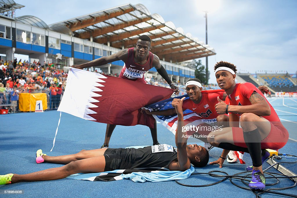 Abdalelah Haroun from Qatar, Karabo Sibanda from Botswana Wilbert London and Kahmari Montgomery from USA celebrate after men's 400 metres during the IAAF World U20 Championships at the Zawisza Stadium on July 22, 2016 in Bydgoszcz, Poland.