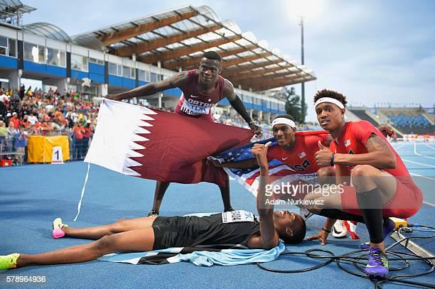 Abdalelah Haroun from Qatar Karabo Sibanda from Botswana Wilbert London and Kahmari Montgomery from USA celebrate after men's 400 metres during the...