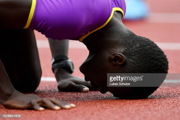 Abdalelah Haroun of Team Asia-Pacific celebrates victory following the Mens 400 Metres during day two of the IAAF Continental Cup at Mestsky Stadium...