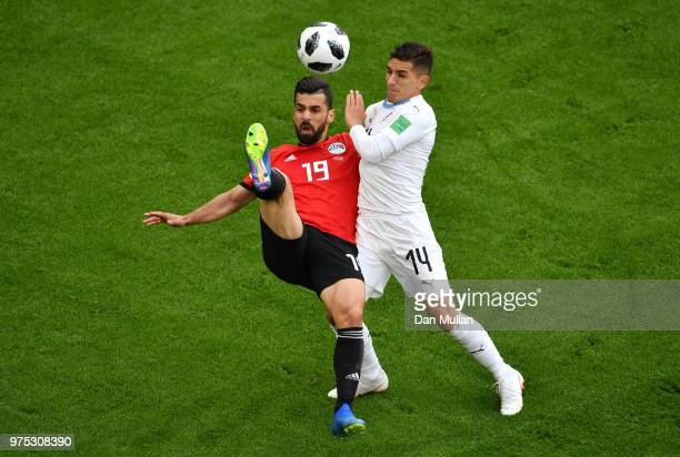 Abdalla Said of Egypt cb Lucas Torreira of Uruguay during the 2018 FIFA World Cup Russia group A match between Egypt and Uruguay at Ekaterinburg...