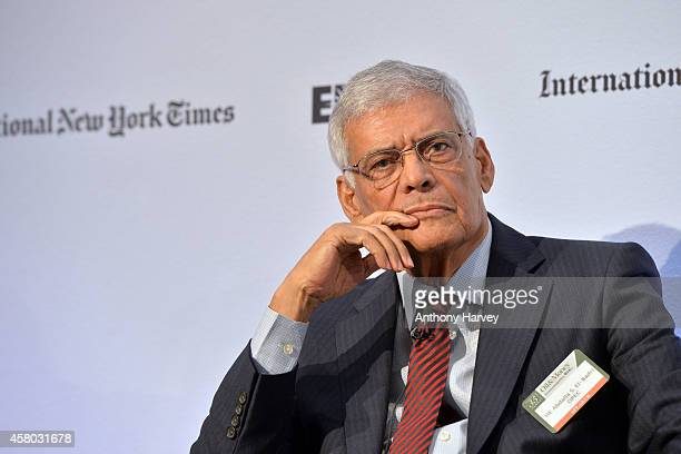 Abdalla Salem ElBadri OPEC Secretary General appears on stage on Day 1 at the International New York Times/Energy Intelligence Oil Money Conference...