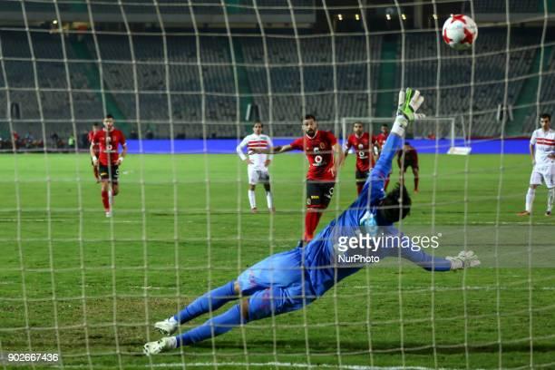 Abdallah El of Al Ahli said scores a goal agenst AlZamalek during the Egypt Premier League Fixtures 17 match between Al Ahly and Zamalek at the Cairo...
