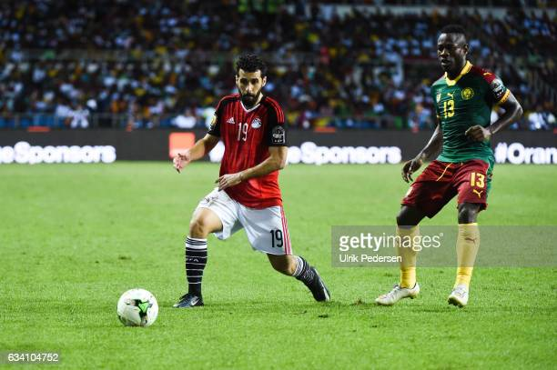 Abdallah Said of Egypt and Christian Bassogog of Cameroon during the African Nations Cup Final match between Cameroon and Egypt at Stade de L'Amitie...