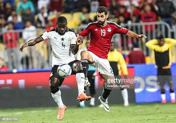 Abdallah Said of Egypt in action against Jonathan Mensah of Ghana during the 2018 World Cup Africa qualifying match between Egypt and Ghana at the...