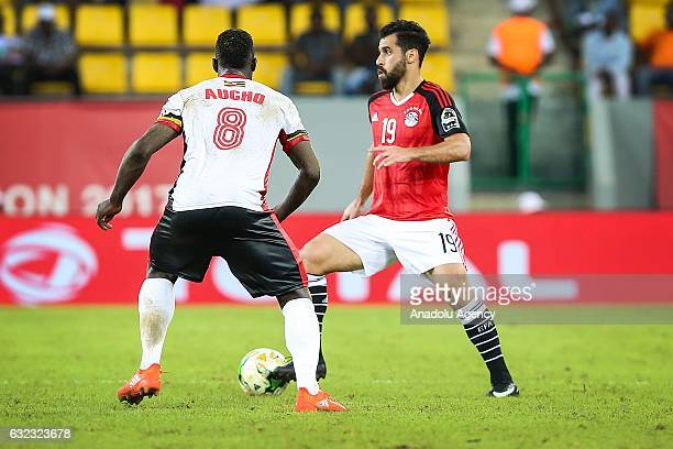 Abdallah Said of Egypt in action against Khalid Aucho of Uganda during the African Cup of Nations 2017 Group D football match between Egypt and...