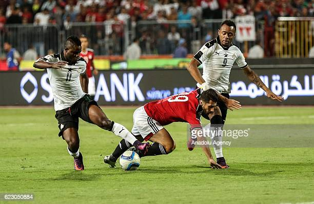 Abdallah Said of Egypt in action against Wakaso Mubarak of Ghana during the 2018 World Cup Africa qualifying match between Egypt and Ghana at the...