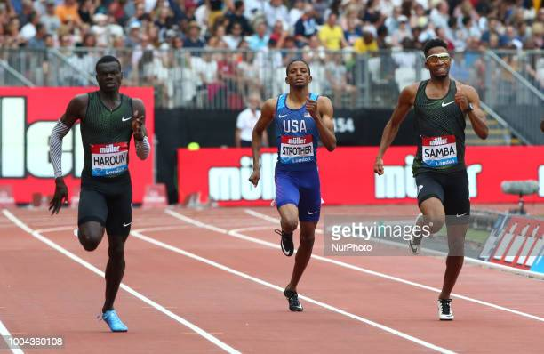 LR Abdalleleh Haroun of Qatar Nathan Strother of USA and Abderrahman Samba of Qatar compete in the 400m Men during the Muller Anniversary Games IAAF...