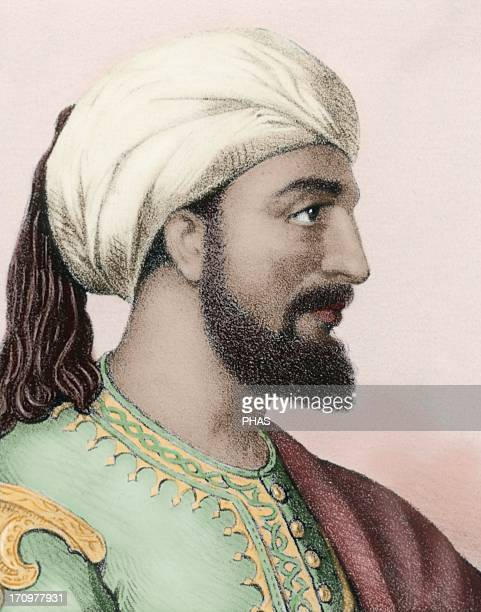 AbdarRahman III Emir and Caliph of AlAndalus Portrait Colored engraving 19th century