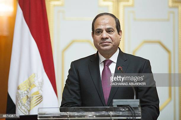 Abdel Fattah elSisi President of Egypt gives a press conference in Addis Ababa on March 24 2015 Egyptian President is visiting Ethiopia for the next...