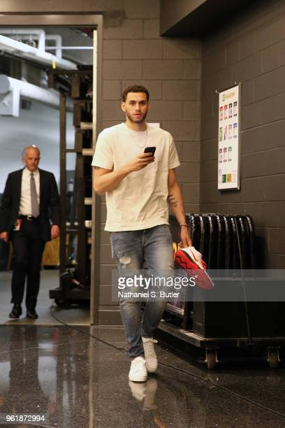 Abdel Nader of the Boston Celtics arrives before Game Five of the Eastern Conference Finals against the Cleveland Cavaliers during the 2018 NBA...