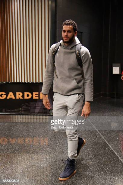 Abdel Nader of the Boston Celtics arrives before the game against the Philadelphia 76ers on November 30 2017 at the TD Garden in Boston Massachusetts...