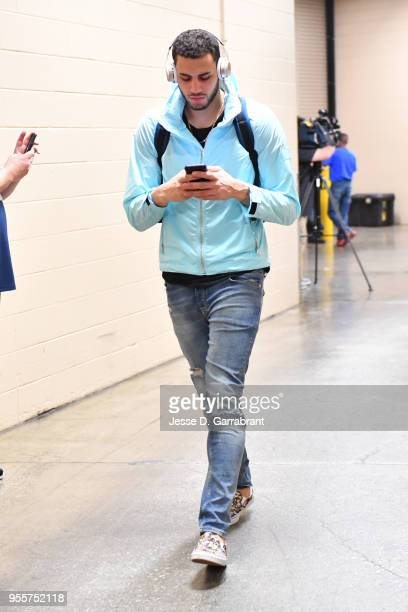 Abdel Nader of the Boston Celtics arrives before the game against the Philadelphia 76ers during Game Four of the Eastern Conference Semifinals of the...