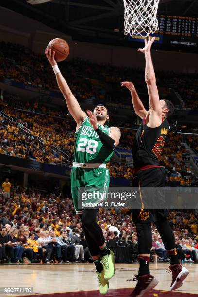 Abdel Nader of the Boston Celtics goes to the basket against the Cleveland Cavaliers in Game Three of the Eastern Conference Finals of the 2018 NBA...