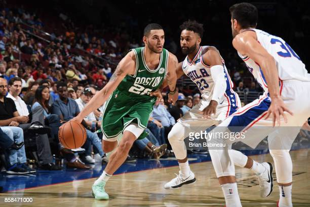Abdel Nader of the Boston Celtics goes to the basket against the Philadelphia 76ers on October 6 2017 in Philadelphia Pennsylvania at the Wells Fargo...