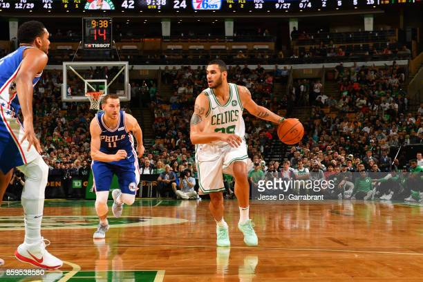 Abdel Nader of the Boston Celtics handles the ball against the Philadelphia 76ers during a preseason game on October 9 2017 at TD Garden in Boston...