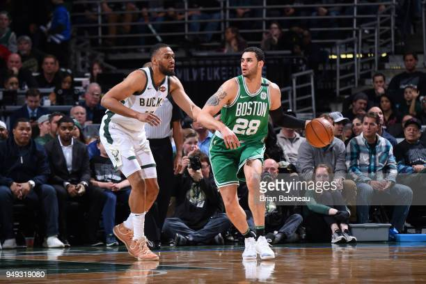 Abdel Nader of the Boston Celtics handles the ball against the Milwaukee Bucks in Game Three of Round One of the 2018 NBA Playoffs on April 20 2018...