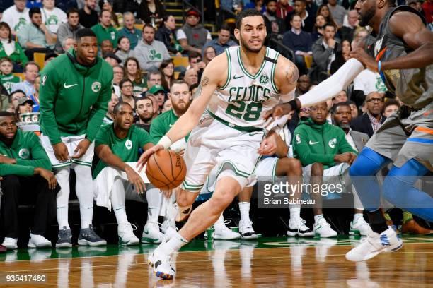 Abdel Nader of the Boston Celtics handles the ball against the Oklahoma City Thunder on March 20 2018 at the TD Garden in Boston Massachusetts NOTE...