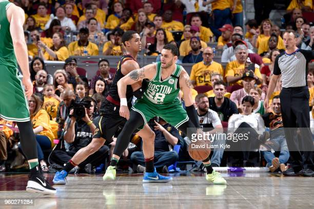 Abdel Nader of the Boston Celtics handles the ball against the Cleveland Cavaliers in Game Three of the Eastern Conference Finals during the 2018 NBA...