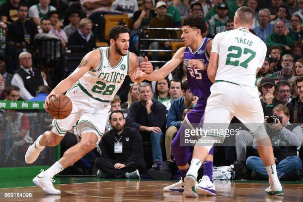 Abdel Nader of the Boston Celtics handles the ball against the Sacramento Kings on November 1 2017 at the TD Garden in Boston Massachusetts NOTE TO...