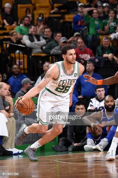 Abdel Nader of the Boston Celtics handles the ball against the New York Knicks on January 31 2018 at the TD Garden in Boston Massachusetts NOTE TO...