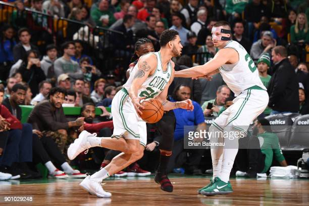 Abdel Nader of the Boston Celtics handles the ball against the Cleveland Cavaliers on January 3 2018 at the TD Garden in Boston Massachusetts NOTE TO...