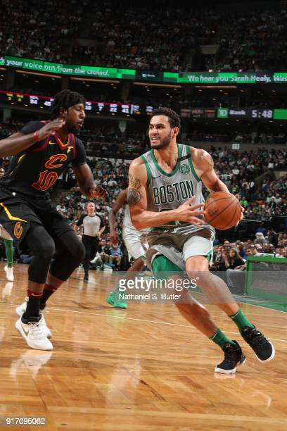 Abdel Nader of the Boston Celtics handles the ball during the game against the Cleveland Cavaliers on February 11 2018 at TD Garden in Boston...