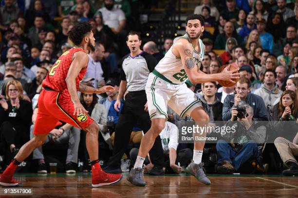 Abdel Nader of the Boston Celtics passes the ball during the game against the Atlanta Hawks on February 2 2018 at the TD Garden in Boston...