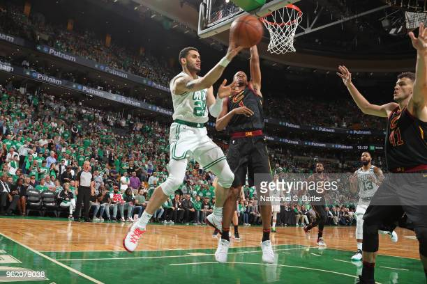 Abdel Nader of the Boston Celtics rebounds the ball against the Cleveland Cavaliers in Game Five of the Eastern Conference Finals during the 2018 NBA...