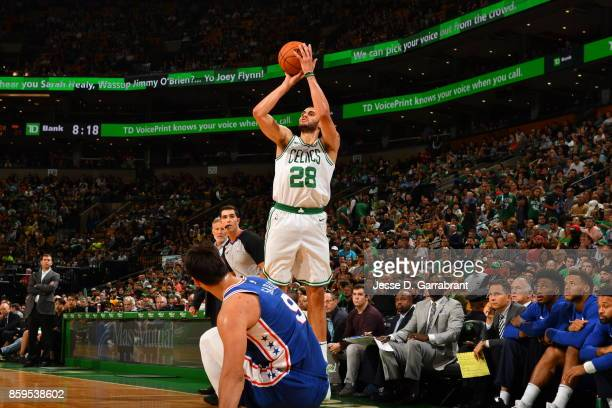 Abdel Nader of the Boston Celtics shoots the ball against the Philadelphia 76ers during a preseason game on October 9 2017 at TD Garden in Boston...