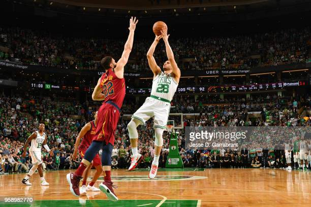 Abdel Nader of the Boston Celtics shoots the ball against the Cleveland Cavaliers during Game Two of the Eastern Conference Finals of the 2018 NBA...