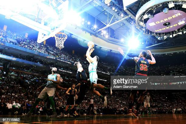Abdel Nader of the Boston Celtics shoots the ball during a game against the Cleveland Cavaliers at TD Garden on February 11 2018 in Boston...