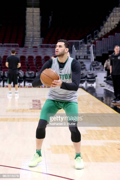 Abdel Nader of the Boston Celtics warms up before the game against the Cleveland Cavaliers during Game Six of the Eastern Conference Finals of the...
