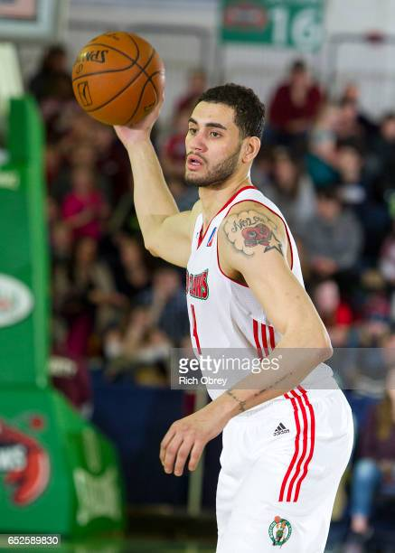 Abdel Nader of the Maine Red Claws pulls in a pass against the Westchester Knicks on Sunday March 12 2017 at the Portland Expo in Portland Maine NOTE...