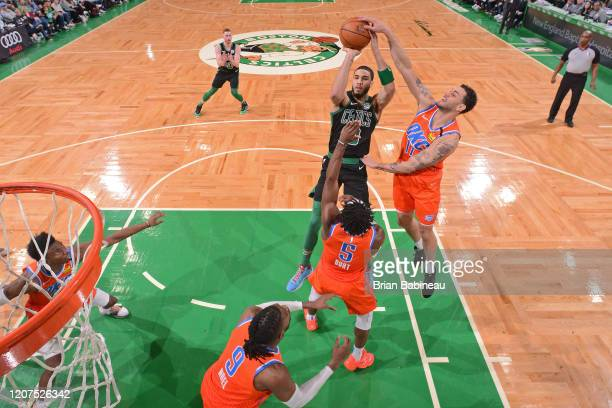 Abdel Nader of the Oklahoma City Thunder blocks the shot during the game by Jayson Tatum of the Boston Celtics on March 8 2020 at the TD Garden in...