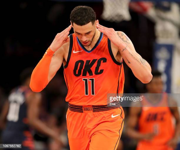 Abdel Nader of the Oklahoma City Thunder celebrates his three point shot in the fourth quarter against the New York Knicks at Madison Square Garden...