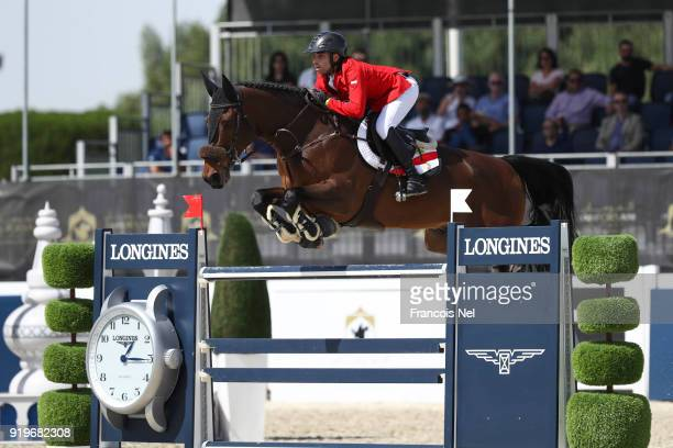 Abdel Said of Egypt rides Jumpy van de Hermitage during The President of the UAE Show Jumping Cup at Al Forsan on February 17 2018 in Abu Dhabi...