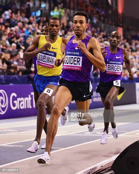 Abdelaati Iguider of Morocco, Ayanleh Souleiman of Djibouti and Bethwel Birgen of Kenya compete in the Men's 1500 metres final during the Glasgow...