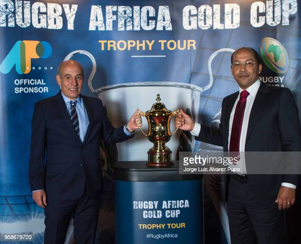 Abdelaziz Bougja Chairman of World Rugby's African association and Nicolas PompigneMognard Founder CEO of APO group unveiling the new Rugby Africa...