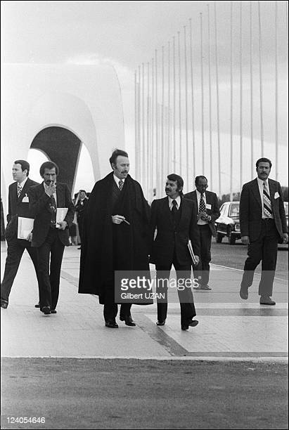 Abdelaziz Boutefilka archives in Algiers Algeria on March 06 1975 Algerian president Houari Boumedienne and Abdelaziz Bouteflika