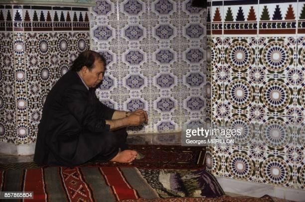 Abdelaziz Bouteflika praying at Sidi M Hamed Benaouda mosque in April 1999 in Algiers Algeria