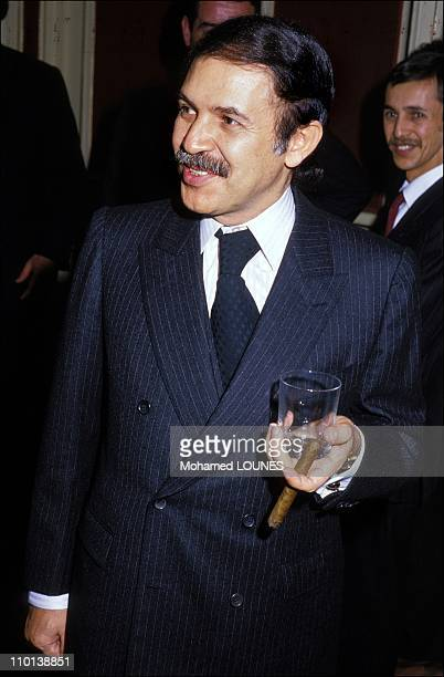 Abdelaziz Bouteflika President of Algeria from April 1999 is pictured here in November 1986 at a reception celebrating the 32th anniversary for the...